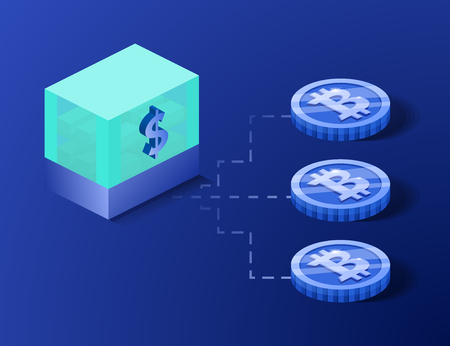 Bitcoin digital currency coin damage world finance system based on dollar concept vector illustration. Crypto currency token coins with bitcoin and dollar symbols. Blockchain cryptocurrency concept. Illustration