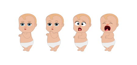 Set with cute little baby with different emotions. Various face expressions. Happy child, baby cry, sick child, sleepy boy, crying baby, in diapers. Colorful vector.