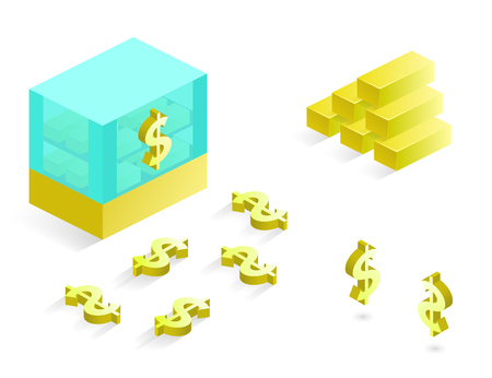 Business and financial icons in isometric, icons in isometric coins, dollars financial. Gold bars illustration. Vector icon set.