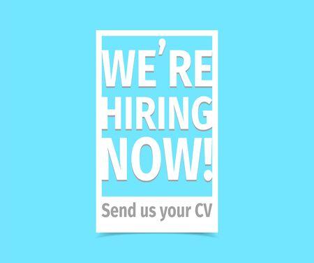 We're hiring now. Vector flat illustration on white background. Illustration