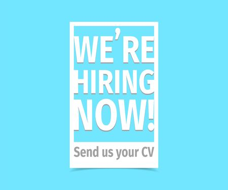 We're hiring now. Vector flat illustration on white background. Иллюстрация