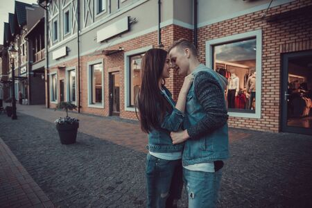 Date of two lovers. Teenagers walk around the city. Couple in love spending time together Stock Photo