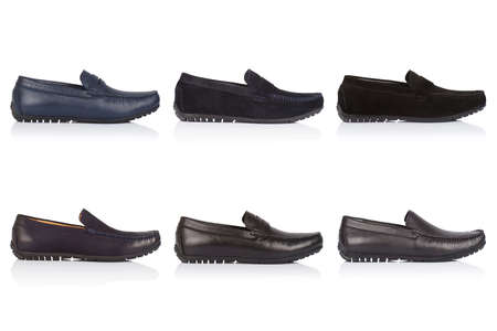 Male shoes collection on a white background, with a shadow on a glossy surface. Isolated product. Front view. 9 pieces