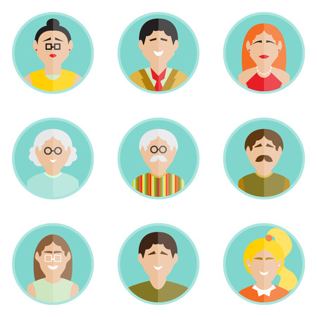 set of family characters in modern flat design Vector
