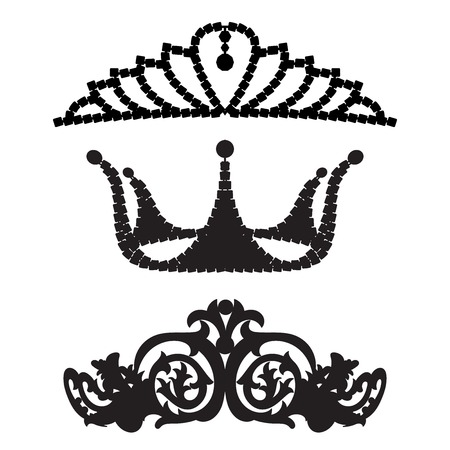Set of female diadems on blurred background Vector