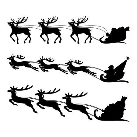 santa s bag: Santa on a sleigh with reindeers vector. Illustration