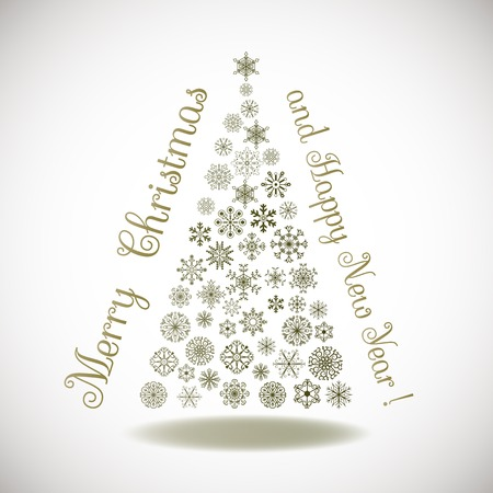 Happy New Year, composition tree of snowflakes with lettering Vector