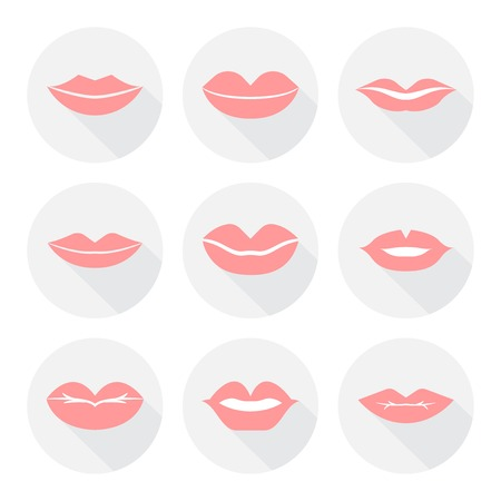 sexy tongue: Set of mouth smile red sexy woman lips in flat style vector illustration Illustration