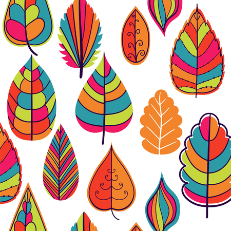 Colored seamless pattern on leaves theme. Autumn seamless pattern with leaves.Can be used for wallpaper, pattern fills, web page background,surface textures. Wonderful autumnal texture Illustration