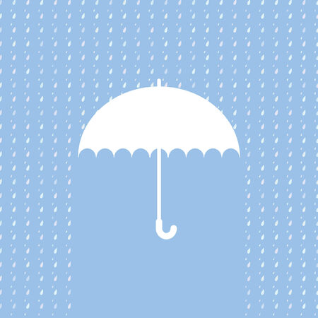 rain cartoon: White umbrella symbol on blue background. Background with rain pattern.Label design.