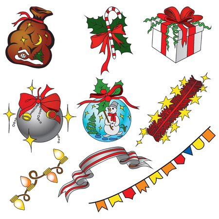 swag: Vector set of christmas icons in cartoon style.