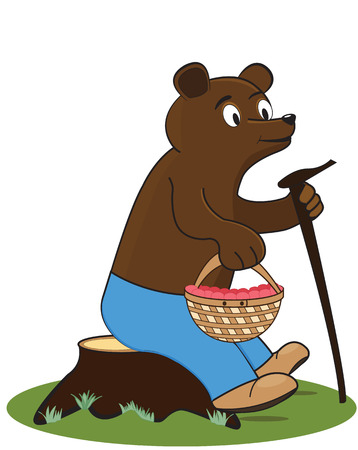 Glad bear sits on the stump with a basket of raspberries Illustration