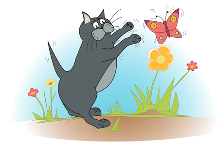 Cute cat plays with pink butterfly Stock Vector - 22546616