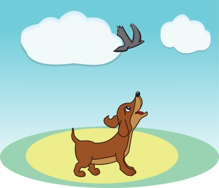 Smart brown dog watch fly bird  Illustration