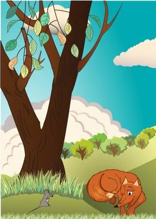 Sly fox catches mouse in meadow Stock Vector - 22546614
