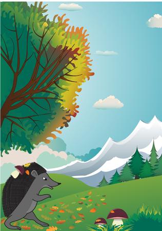 joyful hedgehog finds mushrooms in the autumn forest Stock Vector - 22546613