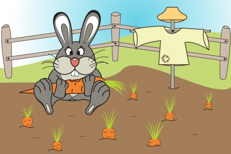 Funny rabbit eats a carrot in the garden