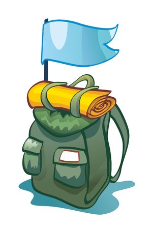 Backpack with a flag - a journey Ilustrace
