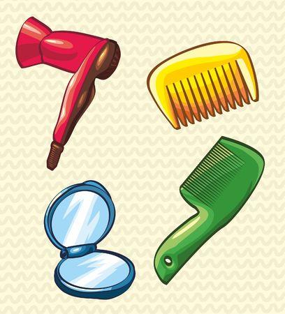 comb hair: pettine. asciuga-capelli. specchietto