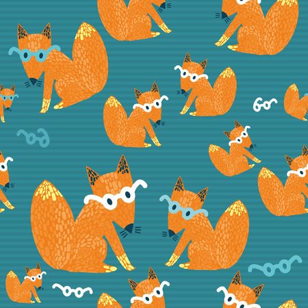 Seamless texture with a nice little red fox in glasses on a striped background
