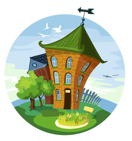 casita de dulces: 2 casita linda con árboles verdes contra el cielo azul claro. Espectaculares, Veleta y valla