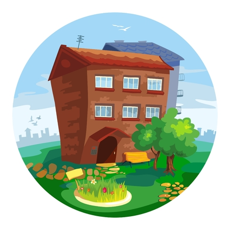 cute little old houses, sunny day Vector
