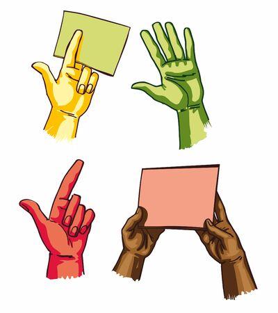 phalanx: Vettori EPS - mani tenendo i fogli e mostrando qualcosa