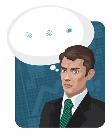 man in a business suit on a blue background with a speech bubble Stock Vector - 9183085