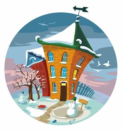 mittens: Winter cute little houses, illustration. Illustration