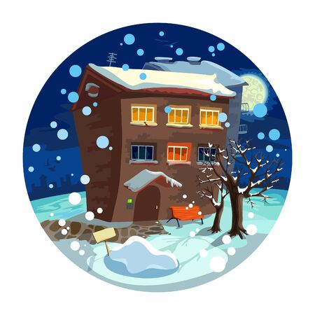 cute little house, winter night Stock Vector - 9251483