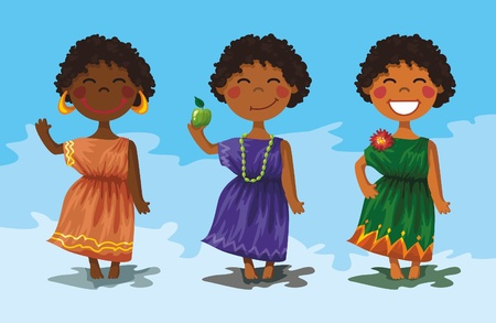 vector illustration - 3 african girls in beautiful plath