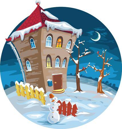 winter house with illuminated windows. moon, trees Illustration