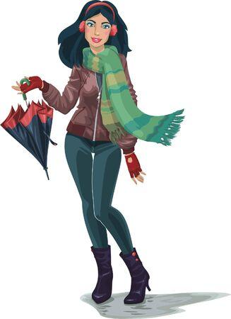the dark-haired girl in headphones. woman holding an umbrella. autumn Stock Vector - 10426203