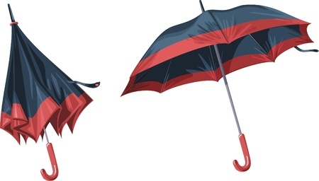 2 beautiful umbrella on a white background Ilustração