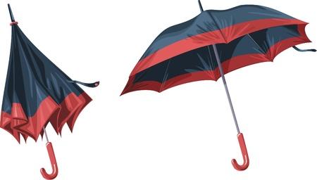 granizo: Dos hermosos paraguas sobre un fondo blanco