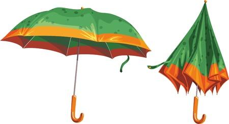 granizo: 2 paraguas de hermosa sobre un fondo blanco
