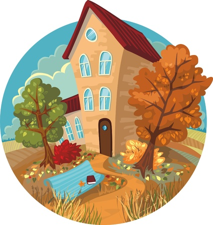 a cute little house, autumn trees and benches in a circle