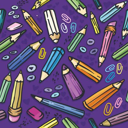 vector illustration. Seamless texture with bright purple crayons Stock Vector - 11222994