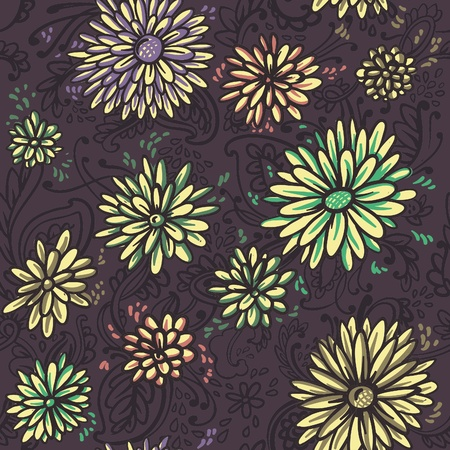 seamless vector illustration. the texture. bright yellow chrysanthemums on a dark background Vector
