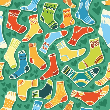 Seamless vector texture - bright baby socks with a green background Illustration