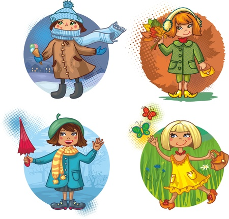4 vector illustration - little girls and seasons  4 girls in beautiful clothes in the bright circle