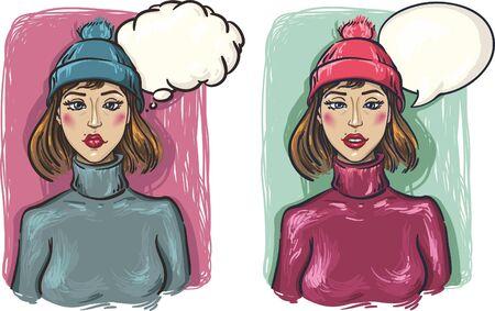 생각에 잠겨있는: two girls. Sad and pensive girl in a hat and sweater