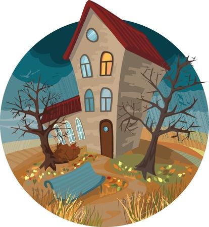 vogelspuren: Autumn House und Schmutz Illustration