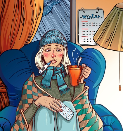 fieber: M�dchen krank kalt. M�dchen sitzt auf einem Stuhl und h�lt eine Tasse in seinen H�nden. Schnee und regen auf der Stra�e. Wintern.