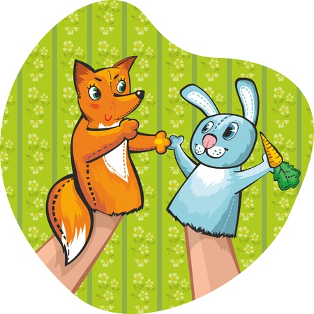 puppet theatre: Puppet Theatre. Rabbit and fox