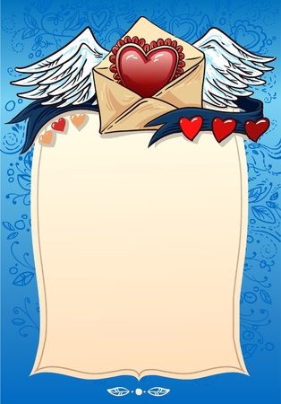 confession: background for a love confession. valentine. heart and ribbon