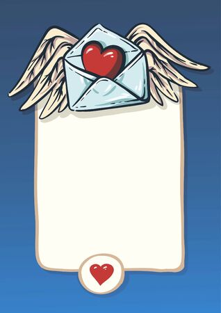 background for a love letter. convention, the heart and wings Vector