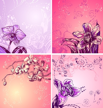 illustration with cute colorful orchids, space for text