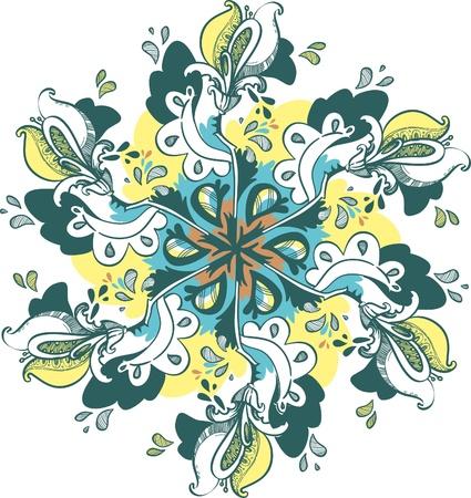 Round floral designs, delicate colors Vector