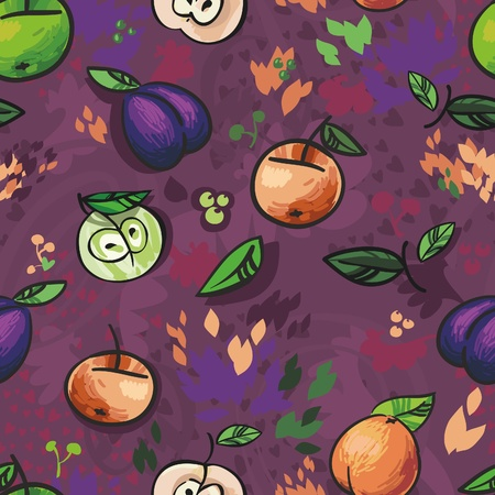 Fruits , seamless background for your design  Vector